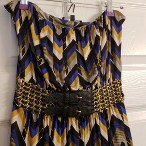 Blue and Gold Sky Minidress